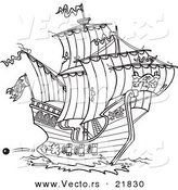 Vector of a Cartoon Pirate Ship Shooting Cannons - Outlined Coloring Page by Toonaday