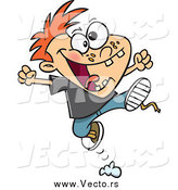 Vector of a Cartoon Red Haired Rambunctious Boy Jumping by Toonaday