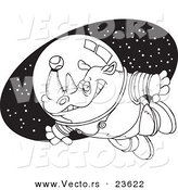 Vector of a Cartoon Rhino Astronaut with a Tennis Ball - Coloring Page Outline by Toonaday