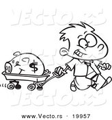 Vector of a Cartoon Rich Boy Pulling His Piggy Bank in a Wagon - Outlined Coloring Page by Toonaday