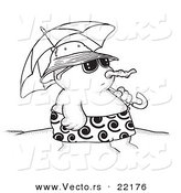 Vector of a Cartoon Sandman on a Beach with an Umbrella - Outlined Coloring Page by Toonaday