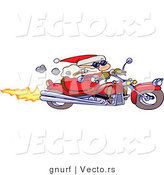 Vector of a Cartoon Santa Claus Speeding on a Motorcycle While Smoking a Cigar by Gnurf