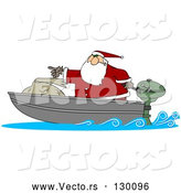 Vector of a Cartoon Santa Pointing Forward on Small Boad with Big Toy Sack by Djart