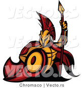 Vector of a Cartoon Spartan Warrior Mascot Armed with a Spear and Protective Shield by Chromaco