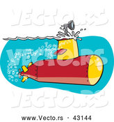Vector of a Cartoon Submarine with Scope Above Ocean Water Surface by Toonaday