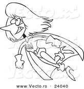 Vector of a Cartoon Super Mom Flying - Coloring Page Outline by Toonaday