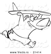 Vector of a Cartoon Surfer Bear - Outlined Coloring Page by Toonaday