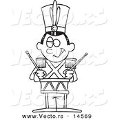 Vector of a Cartoon Tin Soldier Drumming - Coloring Page Outline by Toonaday