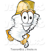 Vector of a Cartoon Tornado Mascot Wearing a Protective Hardhat by Toons4Biz