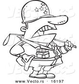 Vector of a Cartoon Tough Military General - Outlined Coloring Page Drawing by Toonaday