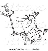 Vector of a Cartoon Unproductive Businessman Balancing a Book and Stapler on a Ruler - Coloring Page Outline by Toonaday