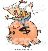 Vector of a Cartoon White Businessman Riding a Piggy Bank by Toonaday