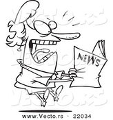Vector of a Cartoon Woman Reading Exciting News - Outlined Coloring Page by Toonaday