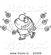 Vector of a Cartoon Yo Yo Boy Boy Black and White Outline - Outlined Coloring Page by Toonaday