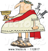 Vector of a Chubby Cartoon Julius Caesar Holding a Goblet, with Knives Stabbed in His Back by Djart