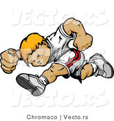 Vector of a Compeitive Boy Running Forward in a Race by Chromaco