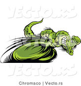 Vector of a Competitive Alligator Mascot Racing - Cartoon Design by Chromaco