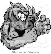 Vector of a Competitive Boar Mascot in Fighting Stance While Gritting Teeth - Cartoon Styled by Chromaco