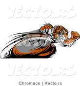 Vector of a Competitive Cartoon Tiger Mascot Racing - Motion Blurred Hind Legs by Chromaco
