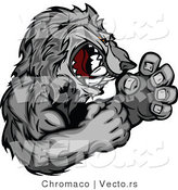 Vector of a Competitive Gray Wolf Mascot in Fighting Stance by Chromaco