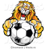 Vector of a Competitive Lion Mascot Gripping a Soccer Ball by Chromaco