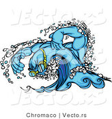 Vector of a Competitive Swimming Wave Mascot Wearing Goggles and Moving Swiftly by Chromaco