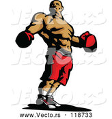 Vector of a Confident Confident Male Boxer Wearing Gloves and Shorts by Chromaco