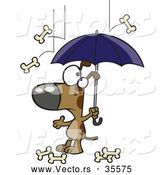 Vector of a Confused Cartoon Dog Under an Umbrella While Bones Rain down from the Sky by Toonaday