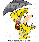 Vector of a Confused Cartoon Girl Wearing Rain Gear, Waiting for Stormy Weather by Toonaday