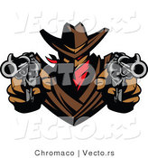 Vector of a Cowboy Outlaw Pointing Two Loaded Hand Guns by Chromaco