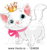 Vector of a Crowned Cartoon White Kitten by Pushkin