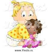 Vector of a Cute Blond White Baby Girl Hugging Her Doll by BNP Design Studio