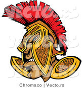 Vector of a Defensive Cartoon Spartan Warrior Wearing Gold and Red Helmet While Grinning by Chromaco