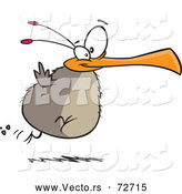 Vector of a Determined Cartoon Chubby Flightless Bird Trying to Fly by Toonaday