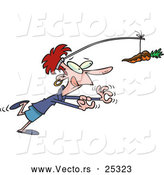 Vector of a Dieting Cartoon Woman Running After a Chocolate Carrot on a Stick by Toonaday