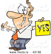 Vector of a Displeased Cartoon Man with a Thumb up Holding a YES Sign by Toonaday