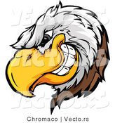 Vector of a Dominant Bald Eagle Mascot Grinning with Intimidating Evil Eyes by Chromaco