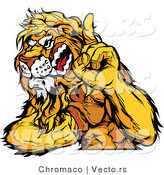 Vector of a Dominant Lion Mascot Flexing Muscles While Growling and Pointing Finger up by Chromaco