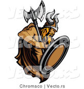 Vector of a Dominant Viking Warrior with Axe and Shield by Chromaco
