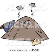 Vector of a Dying Cartoon Man Trapped and Suffocating Under a Big Dirt Pile Labeled: Friday the 13th by Toonaday