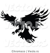 Vector of a Eagle with Razor Sharp Feathers Targeting Prey on Land - Silhouette by Chromaco
