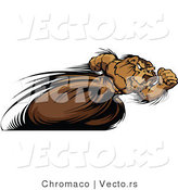 Vector of a Fast Cartoon Bear Mascot Sprinting on Track and Field Course by Chromaco