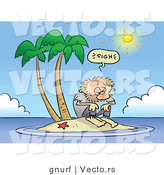 Vector of a Fatigued Cartoon Man Stranded on a Tiny Island on a Hot Summer Day by Gnurf