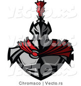 Vector of a Fearsome Knight Wearing Metal Armor and a Red Cape by Chromaco