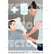 Vector of a Female Nurse Using Stethoscope on Patient in a Medical Room by Mayawizard101