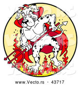 Vector of a Fierce Cartoon Devil Dalmatian Dog Standing Aggressively Within Fire While Holding a Pitchfork by LaffToon