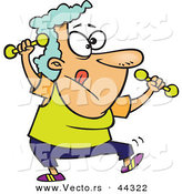 Vector of a Fit Cartoon Old Lady Working out with Dumbbells by Toonaday