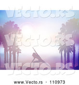 Vector of a Fit Silhouetted Lady Doing Yoga Between Palm Trees Against a Sunset in Purple Tones by KJ Pargeter