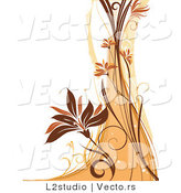 Vector of a Floral Grunge Background with Orange and Brown Waves and Vines by L2studio