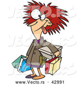 Vector of a Frazzled Cartoon Shopper Woman Carrying Shopping Bags by Toonaday